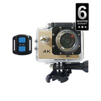 Action Camera 4K Sports Action Camera Wifi With Remote - Gold