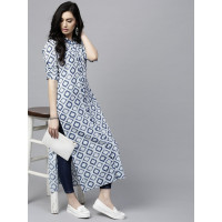 Aks Clothing Women Navy and Off-White Printed Straight Kurta