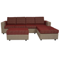 Awana Sectional sofa  - Light Grey Base And Maroon Cushions